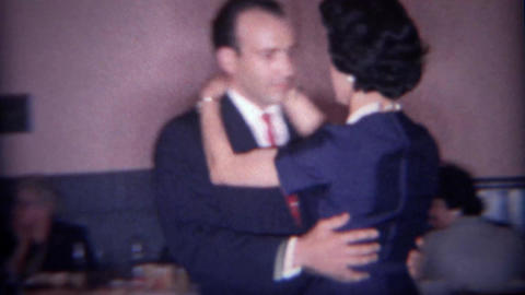 1966: Couple spin dancing in VFW grand ballroom Footage