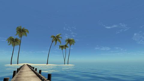 3d, Palm Beach and the sea near the hotel Animation