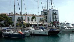 Spain Gran Canary Mogán 043 sailing boat marina and cityscape Footage