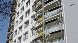 Scaffolding on a building Footage