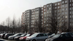 PRAGUE, CZECH REPUBLIC - MARCH 2014: Housing development with parked cars Footage