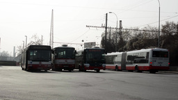 PRAGUE, CZECH REPUBLIC - MARCH 2014: Buses stop at the bus station Footage