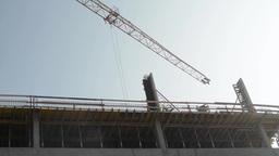 PRAGUE, CZECH REPUBLIC - MARCH 2014: Building Construction With Crane stock footage