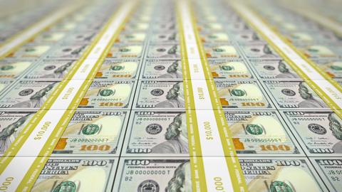 Loop: Pan Along 100 USD Stacks, DOF stock footage