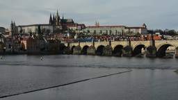 PRAGUE, CZECH REPUBLIC - MARCH 2014: Prague Castle and Charles Bridge with Vltav Footage