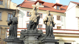 PRAGUE, CZECH REPUBLIC - MARCH 2014: Religious Statues On The Charles Bridge, In stock footage