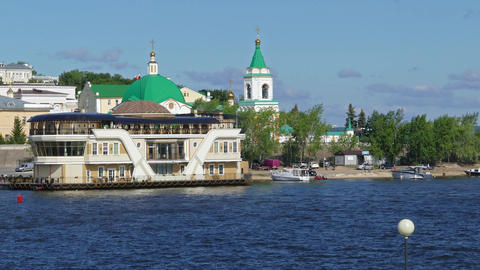 Embankment of Cheboksary city on the Volga River Footage