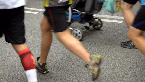 City Half Marathon Runners Stock Video Footage