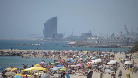 Crowded Beach Of A Big European City Footage
