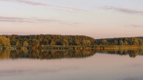 Peaceful autumn nature reflected in calm clear water, river or lake at sunset Footage