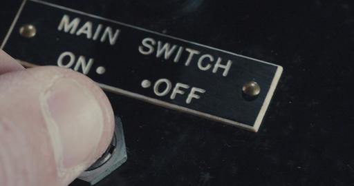 Macro shot of hand operating vintage electrical equipment ビデオ
