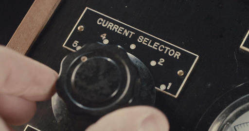 Macro shot of hand operating vintage electrical equipment Footage
