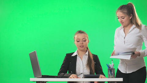 Secretary and Businessman work with documents in the office, green screen, alpha Footage