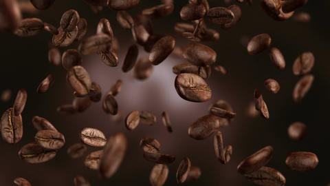 Animation video of falling coffee beans-loopable background in 4K Live Action
