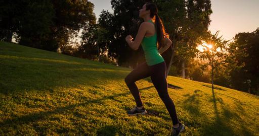 Athletic Woman Running Slow-Motion ビデオ