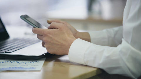 Lady typing message on smartphone, modern communication technology in business Footage