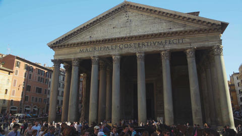 Pleased tourists walking near antique temple of all Gods Pantheon in Rome, Italy Footage