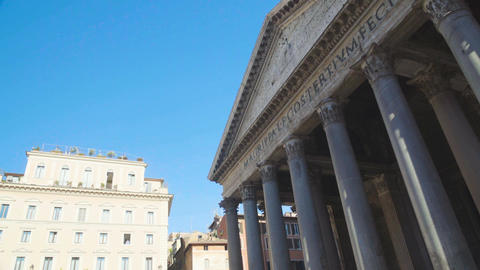 Panorama of Pantheon with large granite Corinthian columns, ancient architecture Footage