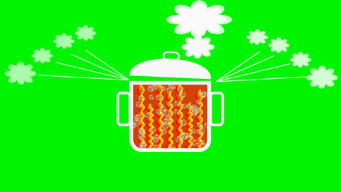 Animated pot with boiling contents., rising bubbles, swinging lid, ascending ste Animation