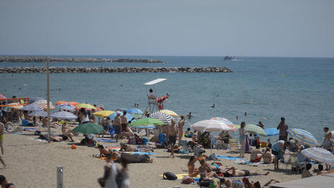 Crowded Beach On A Hot Summer Day Footage