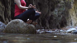 Woman doing yoga in nature Footage