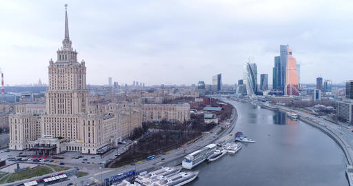 Ukraina Hotel and Moscow city Footage