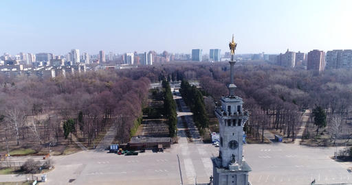 Aerial view Northern river station in Moscow Filmmaterial