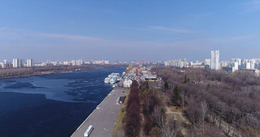 Khimki Reservoir and port Footage