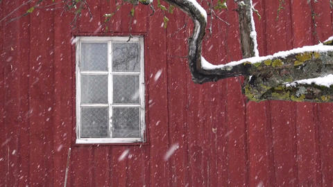 snowfall on red house wall background with white window Footage