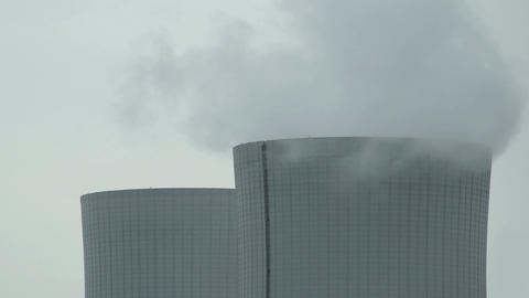 Cooling Tower Closeup on Cloudy Day Pan Live Action