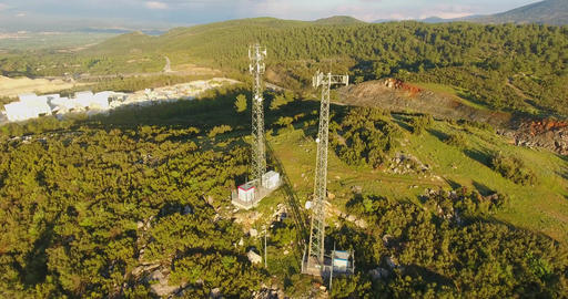Cellphone Communication Towers in Nature Footage