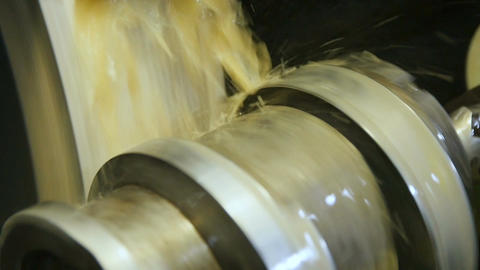 Closeup Coolant Flows down on Turning Milling Machine Footage