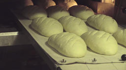 Baker puts tray raw bread loaves to baking oven HD video. Bakery production Footage