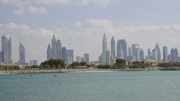 Burj Khalifa skyline Dubai cityscape HD panoramic video. UAE architecture Footage