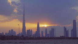Dubai panorama cityscape twilight skyline HD video from desert. City sunset sky Footage