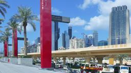 Dubai downtown cityscape HD timelapse video. City skyscrapers modern buildings ビデオ