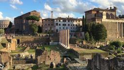 Roman Forum ancient ruins Rome Italy HD panorama video. Travel landmark