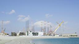 Panorama Dubai cargo port UAE HD slow-motion video. Shipping dock cranes Footage
