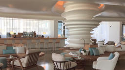 Modern hotel resort interior HD panoramic video. Bar counter table wooden design Footage