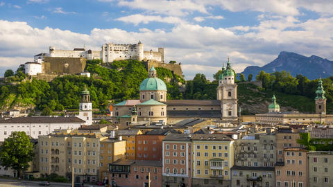 Evening Austrian Salzburg. Time Lapse Footage