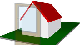Assembling of simple house with red roof Animation