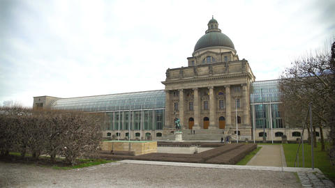 Panorama of famous Hofgarten Royal Residence and the glass State Chancellery Footage