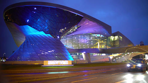 Amazing illumination on modern futuristic building, new business center Footage