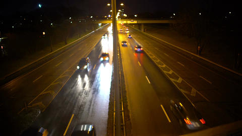 Evening highway with moving cars, view from bridge, city life, transportation Footage