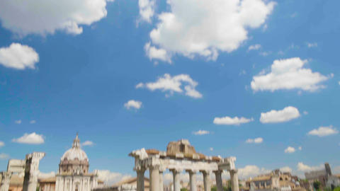Blue cloudy sky above ruins of Roman Forum museum in Italy, famous landmark Live Action
