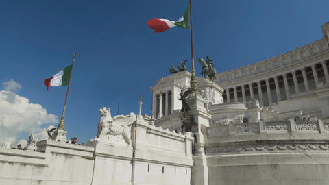 Base view on National Monument to Victor Emmanuel II and marble palace in Rome Footage