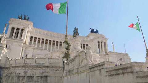 Amazing view on Altar of Fatherland in Rome, popular touristic place of Italy Footage