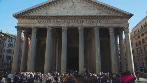 People enjoying sightseeing in Rome, view on famous antique temple Pantheon Footage