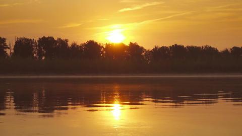 Landscape with sunrise over big river, 4k Footage