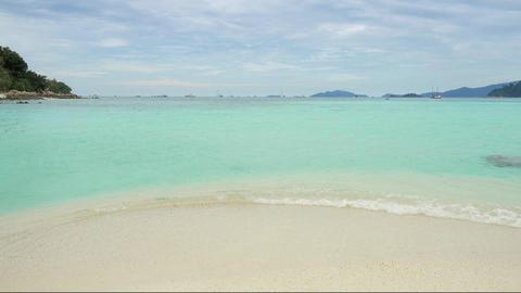 White sandy Sunrise beach in Thailand Footage